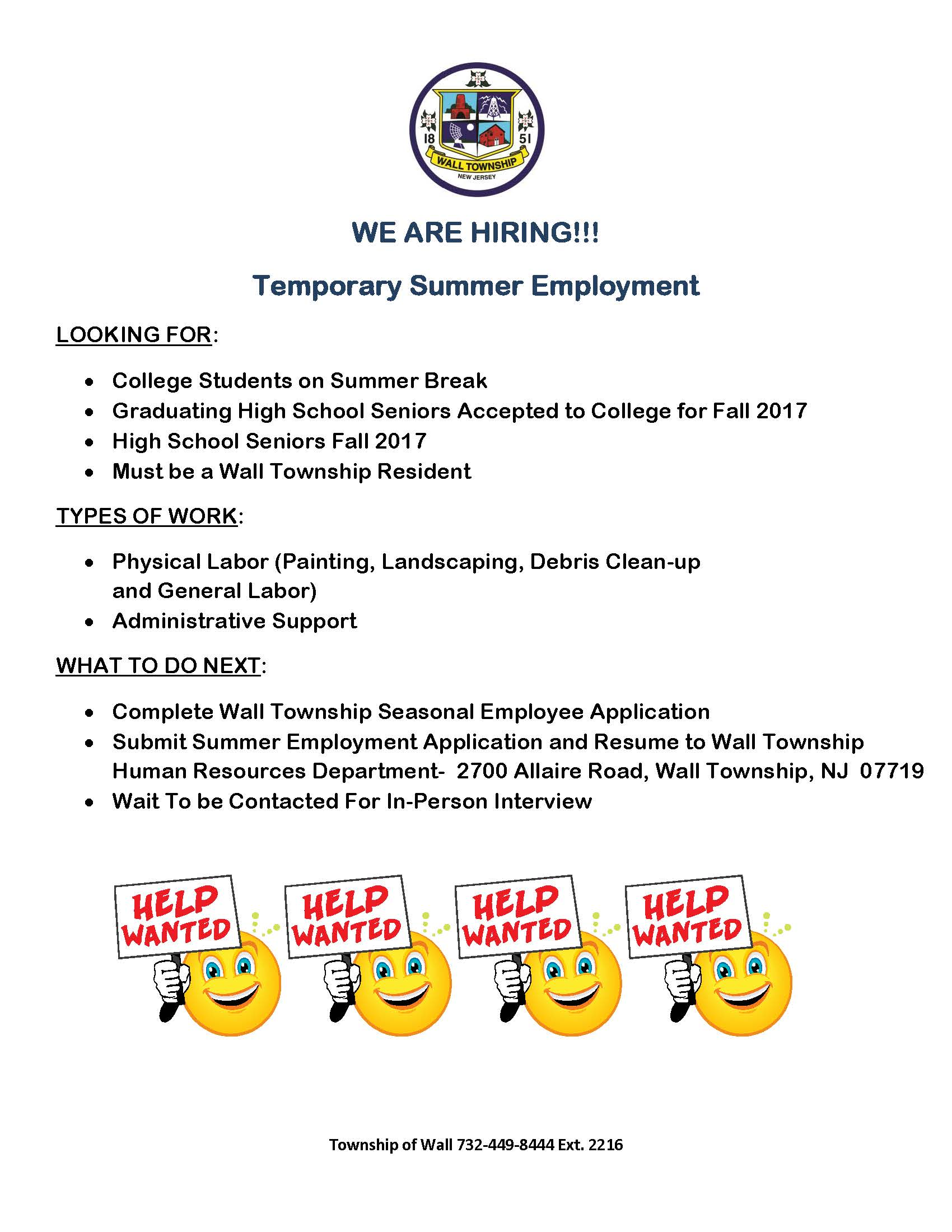 wall township nj official website official website wall township seasonal employment flyer 2017