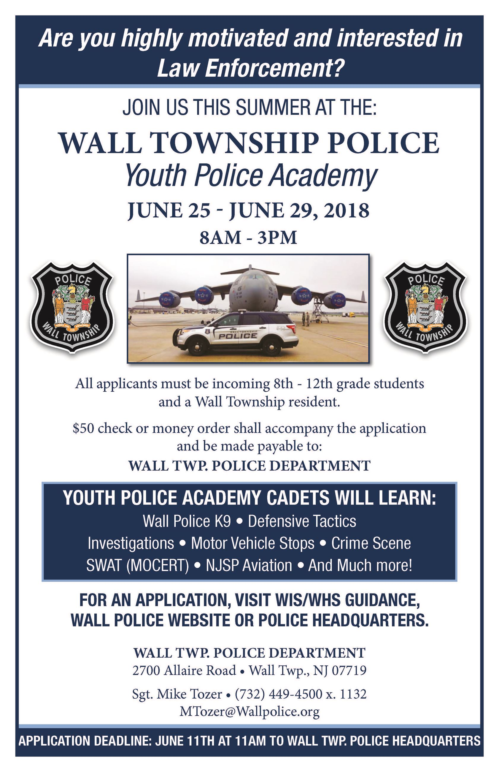 WTPD 2018 Youth Police Academy Poster