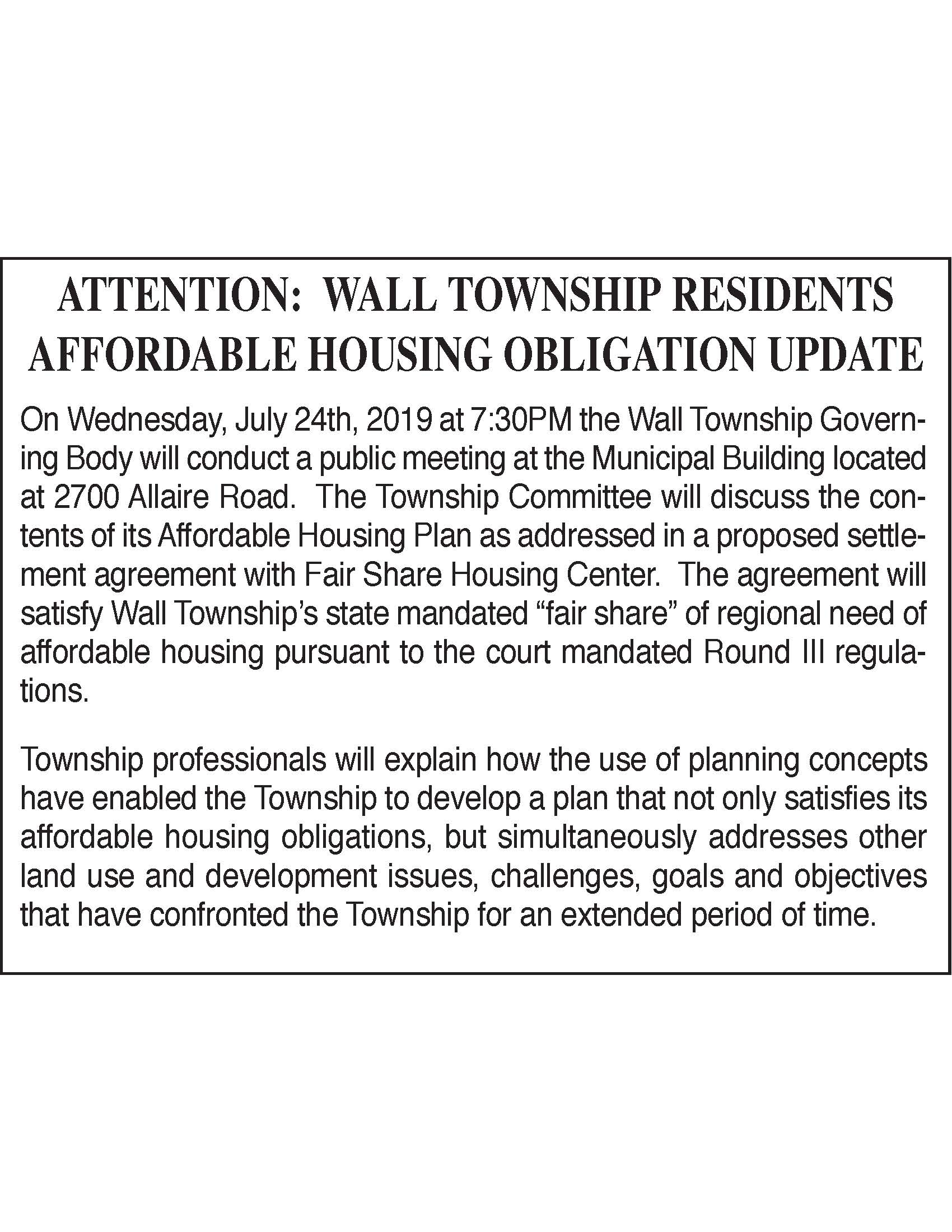 Affodable Housing Obligation Notice