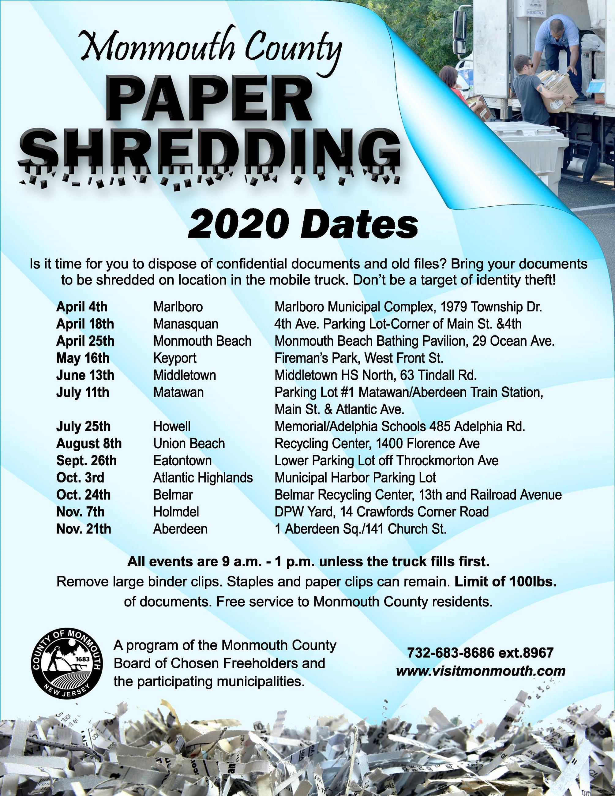 2020 Monmouth County Paper Shredding Dates