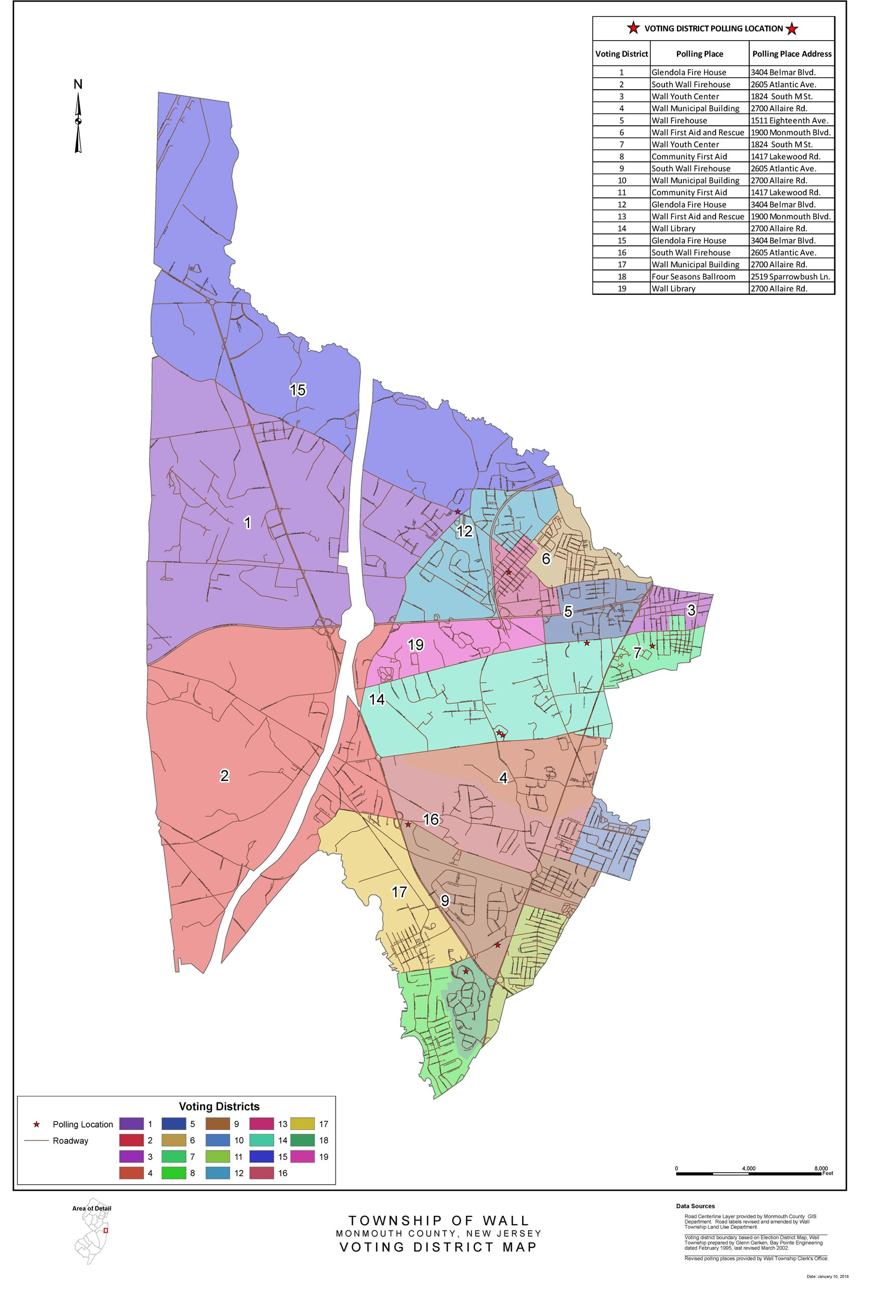 Wall Township Voting District Map