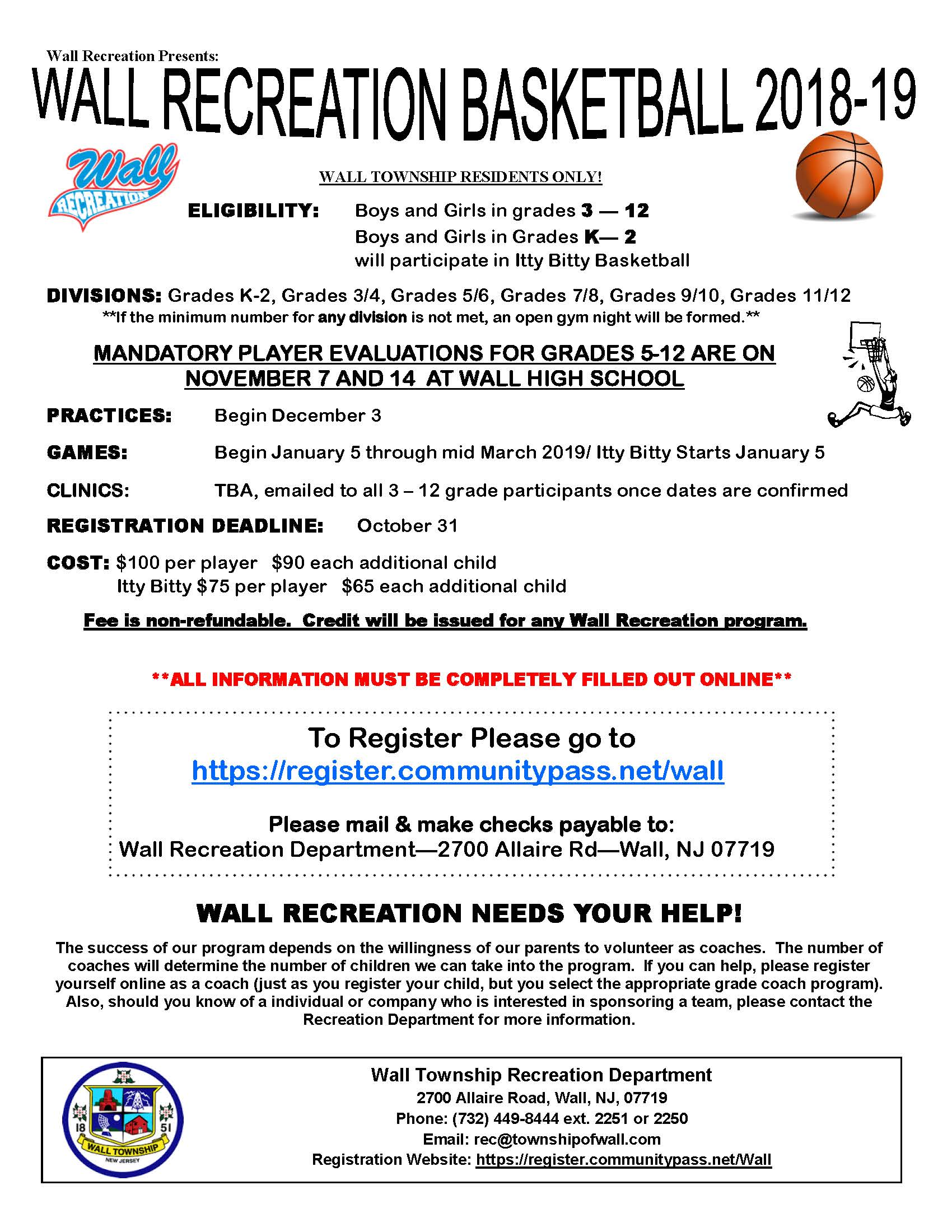 Wall Rec Basketball REGISTRATION FORM 18-19