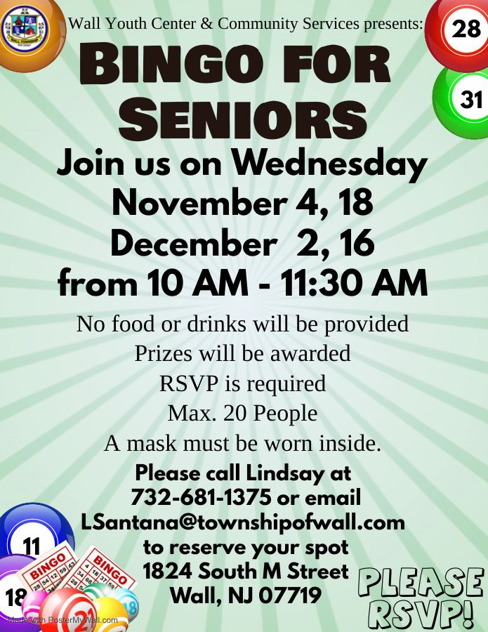 Virtual Bingo for Seniors - 10 AM start on Wednesday Nov. 4 & 18 and Dec. 2 &16