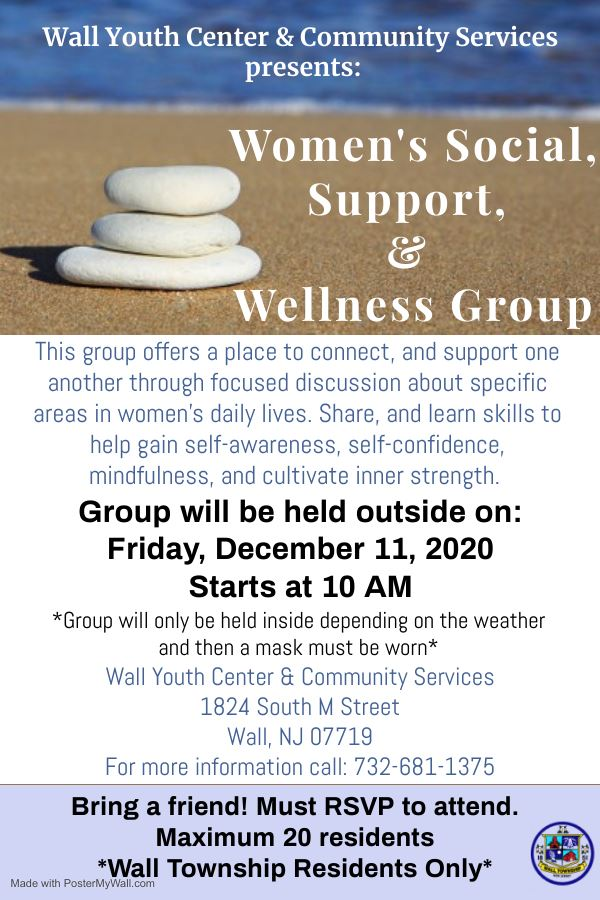Wall Women's Social, Support & Wellness Group Meets at 10 AM on Dec. 11