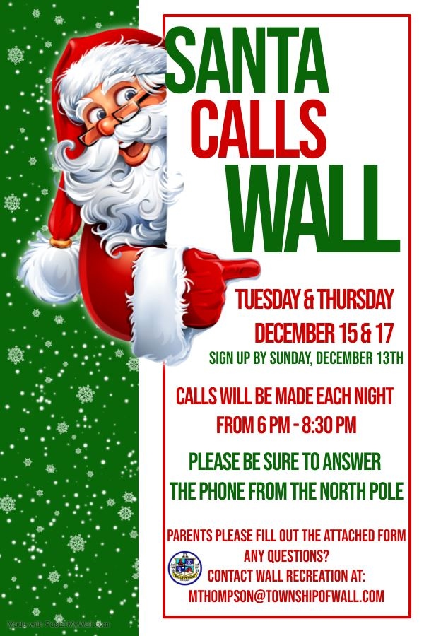 Santa Calls Wall - Sign up your kids to have a call from Santa